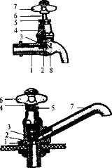 Краны: вверху - водоразборный (1 - корпус крана, 2 - резиновая прокладка, 3 - клапан, 4 - корпус головки, 5 - втулка сальника, 6 - шток, 7 - маховик, 8 - излив); внизу - туалетный (1 - корпус крана, 2 - резиновая прокладка, 3 - клапан, 4 - шток, 5 - втулка сальника, 6 - маховик, 7 - излив).