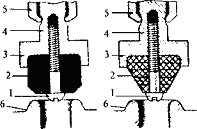 Клапан головки крана (вентиля): слева - с цилиндрической прокладкой, справа - с конической прокладкой; 1 - винт; 2 - прокладка; 3 - клапан; 4 - хвостовик клапана; 5 - шток; 6 - седло крана (вентиля).