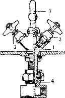 Смеситель типа елочка: 1 - корпус; 2 - краны; 3 - излив; 4 - узел подвода горячей и холодной воды.