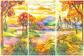 """Оригинал схемы вышивки  """"Витраж """".  Витраж, пейзаж витраж картина рисунок панно природа."""