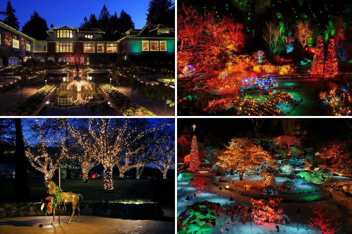 Сады Бутчартов (The Butchart Gardens): новогоднее оформление, фонарики и лампочки на домах и деревьях, елка