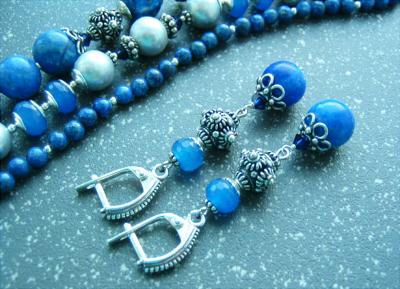 Набор украшений из лазурита: серьги, бусы, браслеты