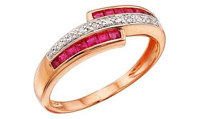 кольцо с рубинами и алмазами