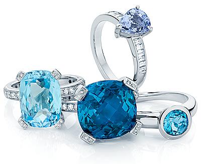 кольца с крупными голубыми и синими сапфирами и алмазами