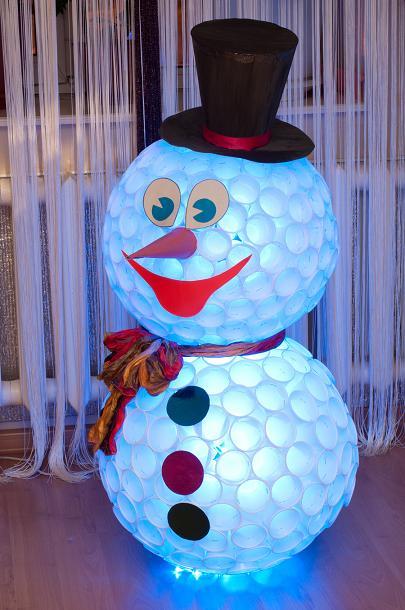 Снеговик из прозрачных пластиковых стаканчиков своими руками фото 803