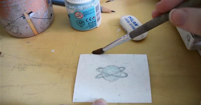 Как нарисовать космос акварелью