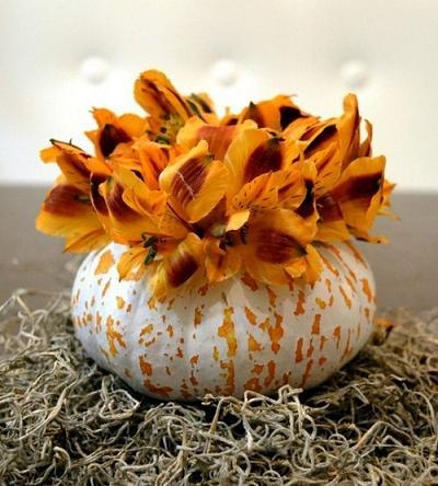 Как сделать из тыквы вазу для осеннего букета. Часть 2