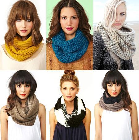 различные варианты объемных шарфов-снудов красивые девушки