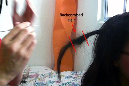 стандартный прием для «начеса», только с перекрученными волосами