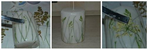 Как сделать свечу с засушенными цветами и листвой