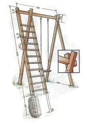 конструкция схема детской деревянной площадки