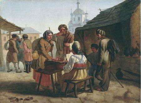 картина крестьяне путники пьют квас подается на столе на улице