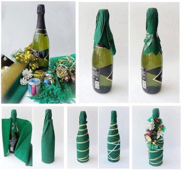 Как оригинально украсить новогоднее шампанское?