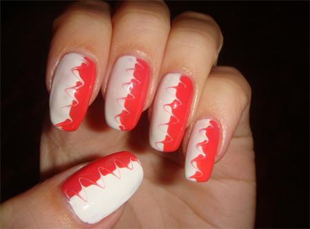 рисунки на ногтях волны двухцветные