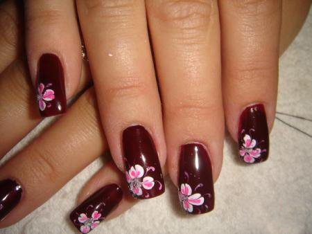 рисунки на ногтях иголкой цветы маникюр в домашних условиях