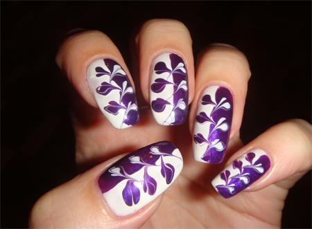 рисунки на ногтях цветы волны зигзаг