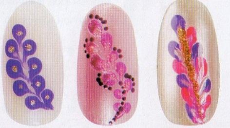 рисунки на ногтях иголкой узоры лепестки цветы  маникюр
