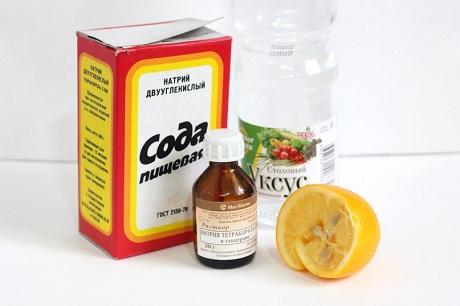 сода в пачке, лимон половинка, уксус, бутылочка аптечная натрия