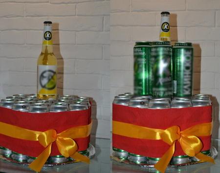 Как сделать торт из банок пива для мужского праздника?