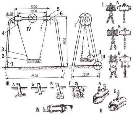 полная схема металлических качелей