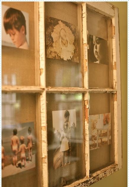 возьмите старое, облупившееся деревенское окно, желательно с мелкими отсеками для стекол