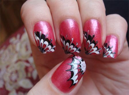 рисунки на ногтях волны лепестки в уголках