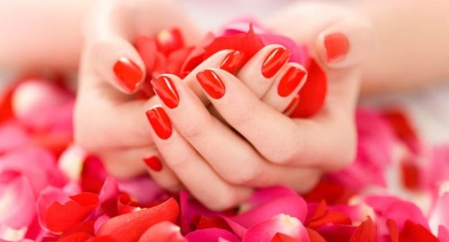 красивые руки алый маникюр красный лак цветы лепестки