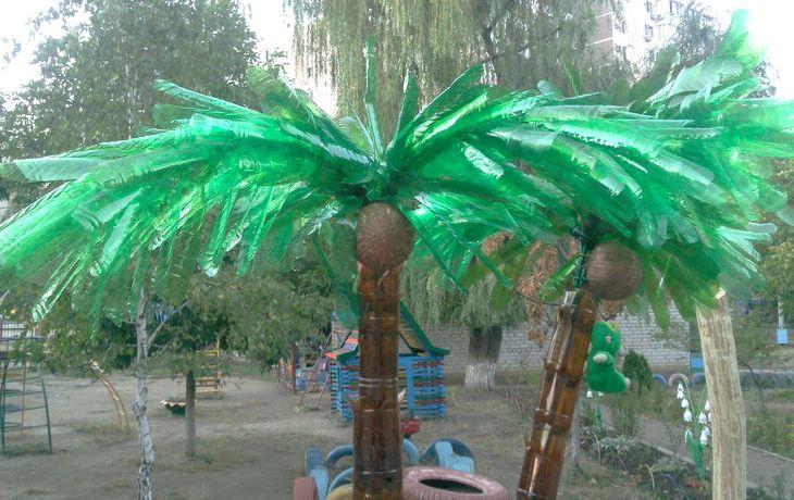 Как сделать пальму из пластиковых бутылок своими руками