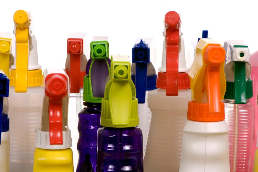 набор средств флаконов для чистки и уборки с дозатором
