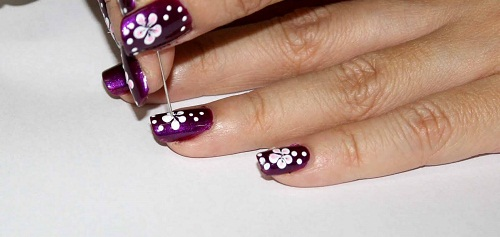 рисунки на ногтях иголкой цветочки   маникюр в домашних условиях