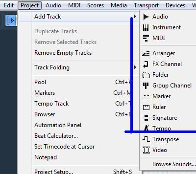 Cubase скрин меню программы выставить темп Tempo
