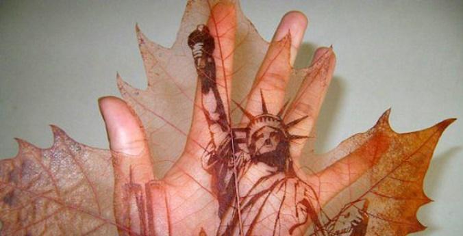 Как выглядят картины из необычных материалов. Рисунки на листьях платана