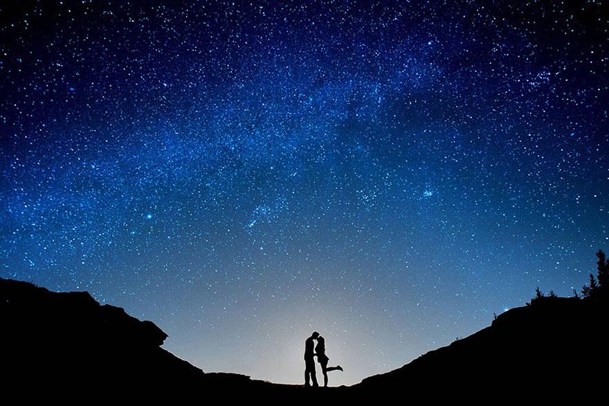 Свадебные снимки-лауреаты фотонаград 2014 г.: только искусство, новобрачные на фоне звездного неба