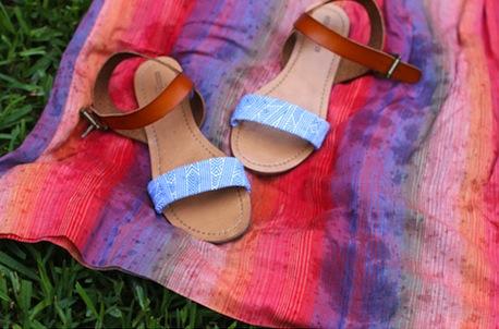 модные сандалии для лета 2014 своими руками, украшаем: Ремешки, обернутые тканью