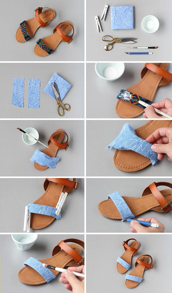пошаговое украшение сандалий тканью в картинках
