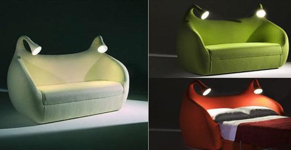 «Морфео» (Morfeo) - кузнечик/муравей/Шрек – диван-кровать со встроенными лампами