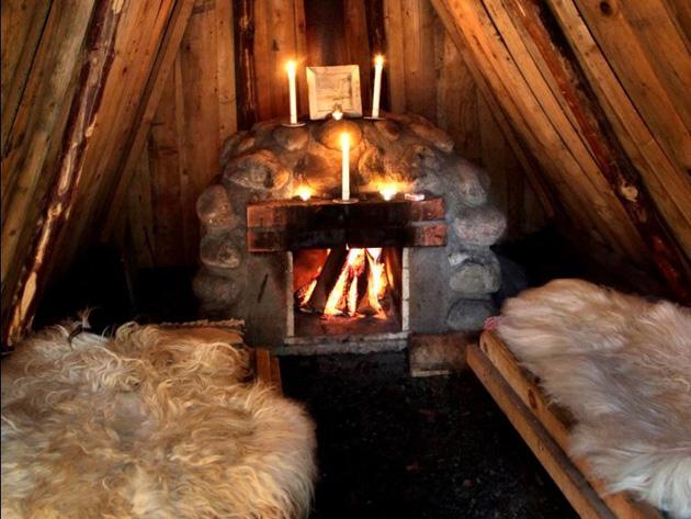 Экологический отель из землянок (Kolarbyn Ecolodge), Швеция - внутри землянки