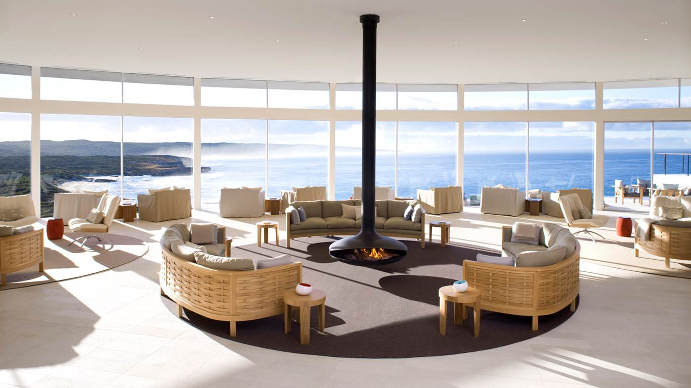 5-тизвездочный Южноокеанический лодж на острове Кенгуру В Австралии (The Southern Ocean Lodge) - комната общая отдыха