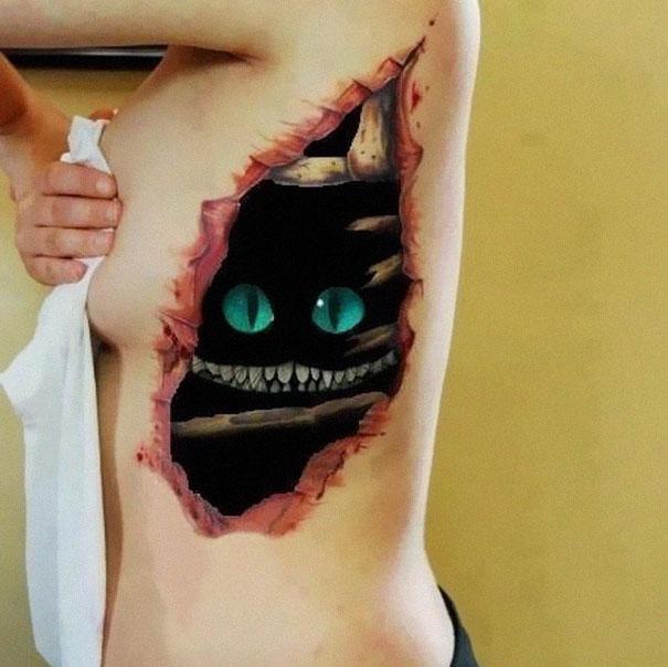 3D (объемные) и фото-татуировки: под кожей - чеширский кот из Алисы в стране чудес Тима Бертона