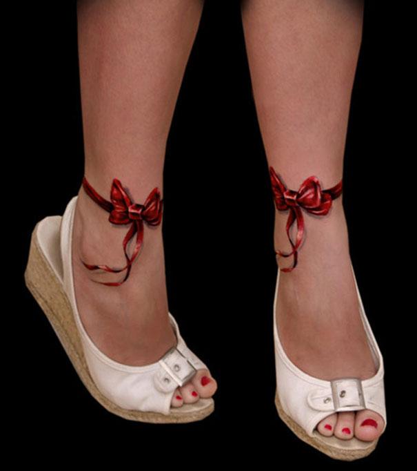 3D (объемные) и фото-татуировки: бантики на щиколотках