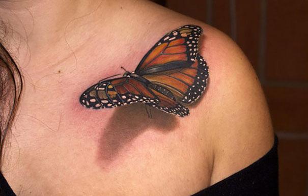 3D (объемные) и фото-татуировки: большая бабочка