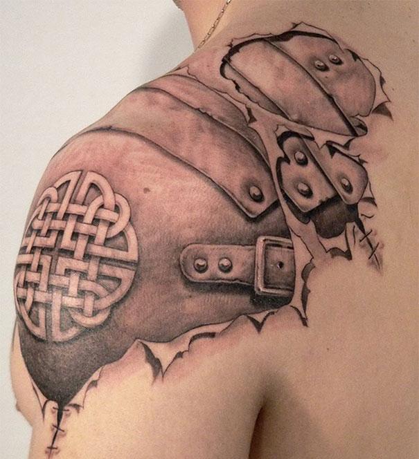 3D (объемные) и фото-татуировки: кожаные доспехи под кожей