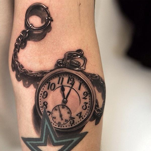 3D (объемные) и фото-татуировки: черно-белые карманные часы