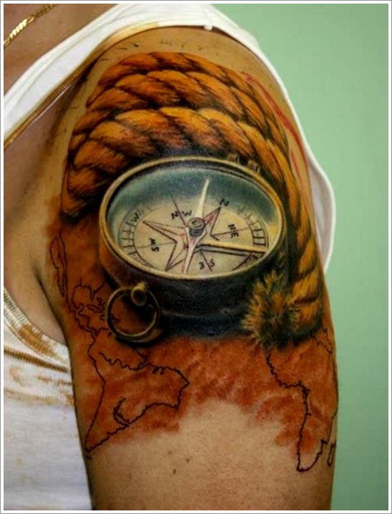 3D (объемные) и фото-татуировки: компас с канатом на плече