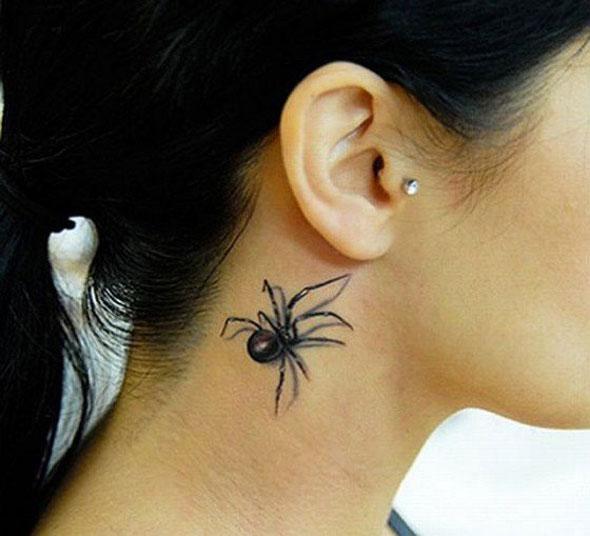 3D (объемные) и фото-татуировки: паучок за ухом