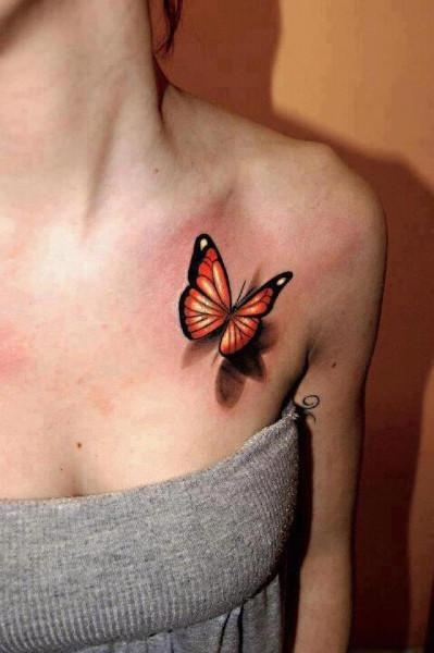 3D (объемные) и фото-татуировки: малая бабочка