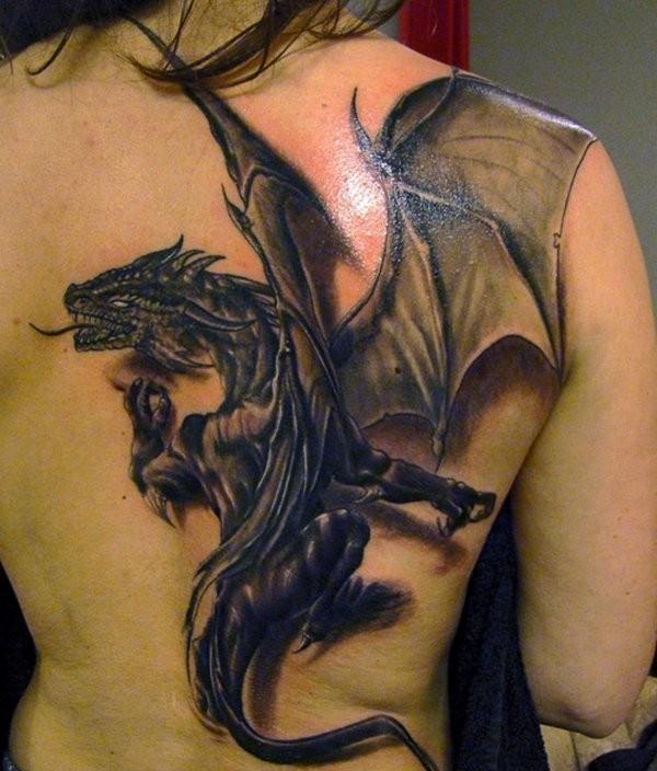 3D (объемные) и фото-татуировки: дракон