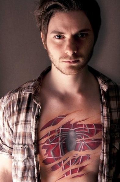 3D (объемные) и фото-татуировки: костюм человека-паука под кожей