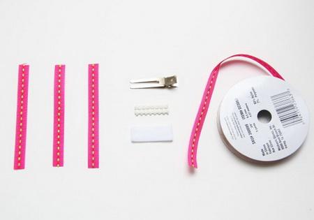 Как сделать заколку в виде банта из репсовой ленты?