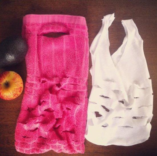 Как сшить хозяйственную сумку из старого полотенца или футболки